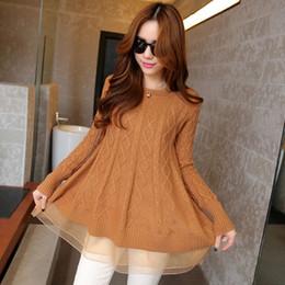 Кружевные шорты онлайн-Оптовая торговля-корейский стиль Женская a-line длинный тонкий o-образным вырезом марлевые дна свитера свободные водолазки кружева подол куртка