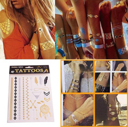 Wholesale Kind Sexy - 500 Kinds Design New Metallic Gold Body Art Temporary Tattoo Sexy Non-Toxic Waterproof Flash Tattoos Sticker Bling Bling Flash Tats 14*25cm