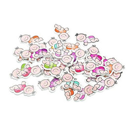 Wholesale Baby Sewing Buttons - 2 Holes Random Mixed Baby Boy Wooden Buttons 3.4x2.1cm For DIY Crafting Sewing And Scrapbooking Clothing Accessory Pack Of 50pcs I425L