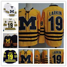 Wholesale Men Blanks - Mens Navy Blue NCAA Michigan Wolverines #19 DYLAN LARKIN College Hockey Jerseys White Gold Embroidery Michigan Wolverines Blank Jersey S-3XL