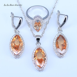 Wholesale Morganite Pendant Silver - L&B Pretty Wedding Jewelry Sets For Women Silver Color Orange Morganite Zircon Jewelry Sets Pendant Earrings Rings Neckalce