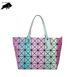 Wholesale Doctor Bow Tie - ZYD-COOL New 7X8 Folded Geometric Tote Quilted Laser Shoulder Bag Fashion Diamond Women Bags Geometry Quilted Baobao Handbag Bag