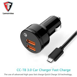 Wholesale Dual Usb Phone Charger - Lamorniea Dual USB Car Charger Quick Charge 3.0 For iPhone 7 Samsung S8 Mobile Phone Car charger Adapter Car Phone Charger