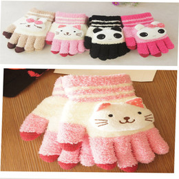 Wholesale Panda Gloves - Wholesale- Capacitive screen Panda cartoon rabbit knitted Gloves A-04