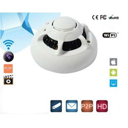 Wholesale Smoke Detector Wifi - Free Shipping Wholesale HD Wireles WIFI Security Video Camera UFO P2P Smoke Detector for iPhone Android 1920*1080