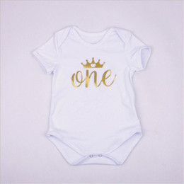 Wholesale High Neck Baby Bodysuit - Baby Girls Short Sleeve Rompers Fashion Kids O-Neck Bodysuit with Letters Printed Girls Rompers High Quality