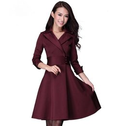 Wholesale Plus Size European Winter Dresses - Fall and winter clothes new European and American women's temperament Slim thin waist big skirt big yards dress female free shipping