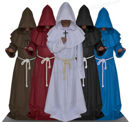 Wholesale White Robe Costume - Medieval monks Sunshine Phi Halloween The Medieval Times Monks And Priests Friar Robe Wizard Minister Christian Church Serve mascot