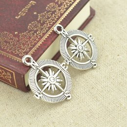 Wholesale Vintage Compass Charm - wholesale 60pcs Vintage tibetan silver metal diy charms compass pendants for necklace and bracelets jewelry accessories 29*25mm 2497