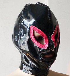 Wholesale Sm Mask Sex - Sex Bondage Wet Look Patent Leather Hood Cosplay Mask with Red Eye Outline and Open Mouth Sex Fetish Play SM Toys