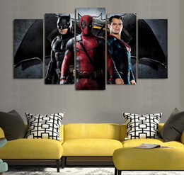 Wholesale Cartoon Pictures For Kids Room - 5 Pcs Set No Framed HD Printed batman superman deadpool Painting on canvas room decoration print poster picture canvas painting for kids