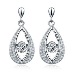 Wholesale Long Earrings Shape - Dancing stone Sterling Silver 925 Eye Shape Vintage Dangle Long Earrings Fashion Jewelry Prong Rhodium Plated For for Women Gift DE16310A