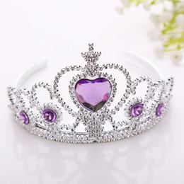 Wholesale Hoop Purple - New Frozen Crown Twinkle Hair Accessories For Girls Princess Bridal Crown Crystal Diamond Tiara Hoop Headband Hair Bands