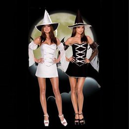 Wholesale sexy witch costumes for women - New Stylish White Black Sexy Cosplay Sequin Costume Halloween Good Witch Costume Cosplay Witches Outfits for Women W8285
