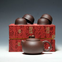 Wholesale Yixing Teapot Clay - Teapot Set YiXing Purple Sand Cabinet Style One Teapot With 4 Cups Especially Good For Taste In Chinese Tea Lover