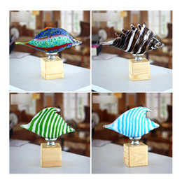 Wholesale Animal Ashtray - Conch Glass Ornaments Sea Feelings Creative Ashtray Glass Decoration Crafts Ornaments with Different Color for Wedding gift