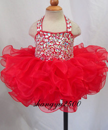 Wholesale Halter Infant Pageant Dress - Glitz Halter Beaded Bodice Newborn Child Infant Toddler Cupcake Pageant Dress