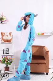 Wholesale Male Onesies - Wholesale-Sullivan Bull Blue Onesies Unisex Sleepsuit Adult Pajamas Cosplay Costumes Animal Onesie Sleepwear Jumpsuit For Male Famale