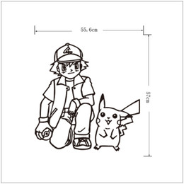 Wholesale 3d Post Stick Wholesales - Poke wall sticker Ash Ketchum and pikachu cartoon sickers black white sketch stickers 56*57cm for kids room Decor T403