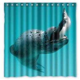 Wholesale Food Hunting - Leopard Seal Penguin Food Hunting Mining Wat Design Shower Curtain Size 180 x 180 cm Custom Waterproof Polyester Fabric Bath Shower Curtains