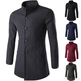 Wholesale Mens Green Cotton Jacket - Mens Trench Coat Overcoat Long Jacket Single Breasted Solid Slim Fit Men's Wool Long Trench Coat Stand Collar Casual Trench For Men J16