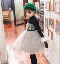 Wholesale Sweaters For Winter Kids - Girls lace dresses knit long sleeve sweater dress for children polka dots princess dress winter kids velvet turtleneck warmer clothing R0688