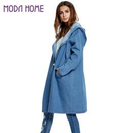 Wholesale Jaquetas Jeans - Wholesale- Women Hooded Long Denim Jacket Dropped Shoulder Long Sleeve Jaquetas Feminina Button Down Pockets Loose Maxi Coat Jeans Outwear