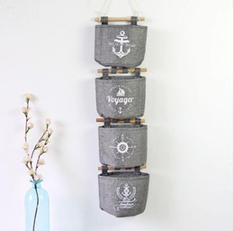 Wholesale cotton storage basket - Wall Sundry Navy Fabric Cotton Pocket Hanging Holder Storage Bag Rack Cosmetic organizer Wall Hanging Storage Bags basket box KKA2831