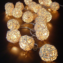 Wholesale Net Used - First quality 20 LED Warm White Rattan Ball String Fairy Lights For Christmas Xmas Wedding decoration Party Hot use dry battery