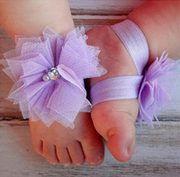 Wholesale Shower Feet - Baby ankle artifical flower decoration soft lace feet decorating accessary for baby shower infant party decoration free shipping