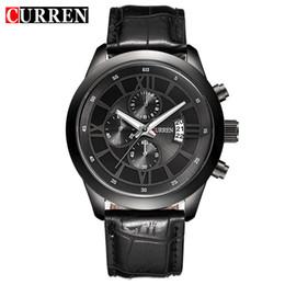 dd6f7fce1355 Chinese Fashion Curren Brand Business Black Man Wrist watch Date Genuine  Leather waterproof Casual wristwatch Male