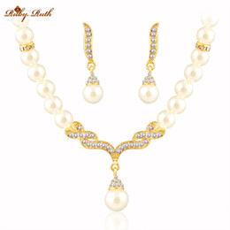 Wholesale Pearl Jewellery Set Gold - Ruby.Ruth jewelry sets african beads18K gold austrian crystal fashion necklace earrings jewellery wedding women bridal gift set jewelry