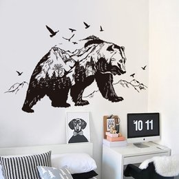 Wholesale Furniture Stickers Decals - Mountain black bear animal wall stickers children room baby bedroom decals vinyl furniture murals art home decoratiom