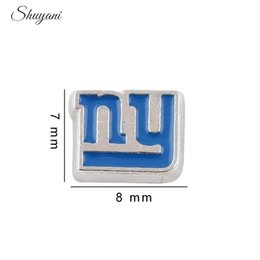 Wholesale Wholesale Logo Lockets - Fashion Alloy Enamel NY New York Floating Locket Charms Sport Team Baseball Logo Charms for Glass Locket Necklace