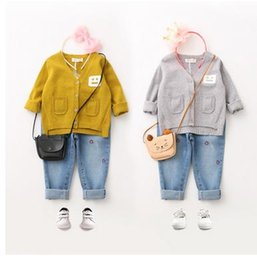 Wholesale Expressions Clothing - Kids knitting sweater girls single-breasted cardigan outwear children double-pockets Expression face printed sweater Kids clothing G1071