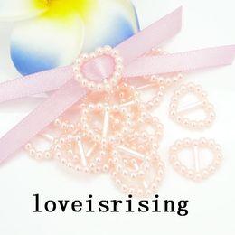 12 couleurs pour vous choisissez - 200pcs forme de coeur de pêche boucles de perle pour bonbon boîte carte d'invitation de mariage ruban curseur boucles de chaussures décor ? partir de fabricateur