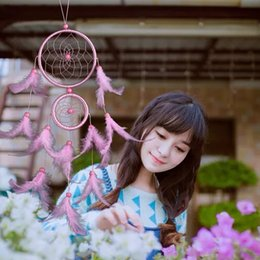 Wholesale Wholesale Net China - Wind Chimes Peach Blossom Ornament Feather Dream Catcher Net Circular Lace Windbell Decor Craft Gift Multi Color Optional 9 8lz F R