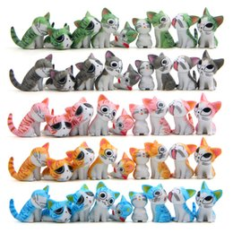 Wholesale Japanese Children Figures - 9 pieces set Cheese cat miniature toy figures cute lovely Model Children Toys 3 cm PVC Japanese anime children drawing world