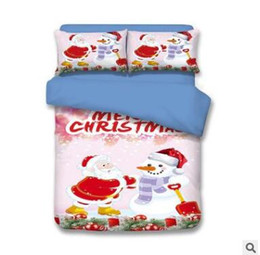 Wholesale King Size Santa Claus Bedding - Child Christmas Bedding Sets Europe Type Style Santa Claus Reindeer Duvet Covers for King Size Bedding Duvet Cover Pillow Cover Pillowcase