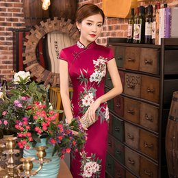 Wholesale Womens Short Prom Dresses - JY18 Womens Satin Long Cheongsam Qipao Traditional Chinese Dress Plus Size M L XL XXL XXXL Party Dresses Wedding Dresses