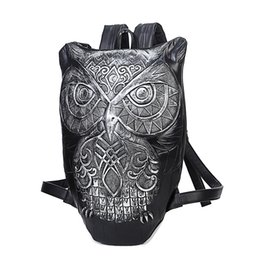 Wholesale Owl Pu Bag - Owl fashion design men travel backpacks high quality 3D animal bookbag school bags for teenagers day pack mochila escolar