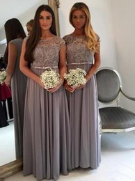 Wholesale Lilac Wedding Dresses Cheap - 2017 Simple Lace Bridesmaid Dresses Scoop Cap Sleeve Chiffon Cheap Floor-Length Maid Of Honor Wedding Guest Dresses With Sash Custom Made