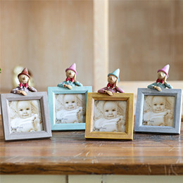 Wholesale Cute Bridal Shower Gifts - 2016 Cute Doll Resin Baby Picture Frames Home Decor Photo Frames Bridal Shower Wedding Favor Gifts