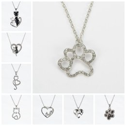 Wholesale Cute Cats Kittens - 2017 Funky Cute Real Dog footprints Silver Open Kitten Cat Pendant Chain Pet Heart Necklace Inlaid Rhinestones Jewelry Gift For Child