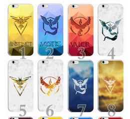 Wholesale Iphone 4s Slim Tpu - Poke GO team Mystic Valor Instinct design cases Ultra Slim pocket monster camp logo Case cover For iPhone 4 4S 5 5S 6 6s 7 plus best