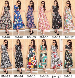 Wholesale plus size long vest - 18 Styles Summer New Arrival Bohemia Dresses For Womens Lady Plus Size Beach Dress Sleeveless Vest Long Dresses CCA7329 20pcs