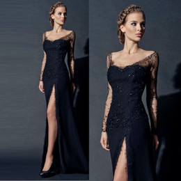 Wholesale Black Sheath Formal Dresses - Sexy High Side Split Black Evening Dresses V Neck See Through Long Lace Sleeves Sheath Prom Gowns With Beaded Formal Evening Party Dresses