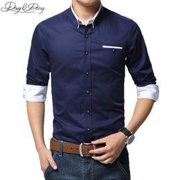 Wholesale Ds Shirt - Wholesale-High Quality Assorted Colors Men Dress Shirt Long Sleeved Cotton Turn-Down Collar Casual Shirt Men Camisa Masculina DS-007