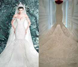 Wholesale Red Pearl Make - Michael Cinco Wedding Dresses 2016 New Arrival Pearls Lace Appliques Off Shoulder Sheer Backless Luxury Mermaid Wedding Dress Bridal Gowns