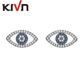 Wholesale Evil Eye Stud - KIVN Fashion Jewelry Spiritual Evil eye Pave CZ Cubic Zirconia Stud Earrings for Women Wedding Birthday Party Christmas Valentine gift